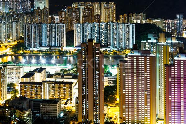 Building in Hong Kong at night Stock photo © leungchopan