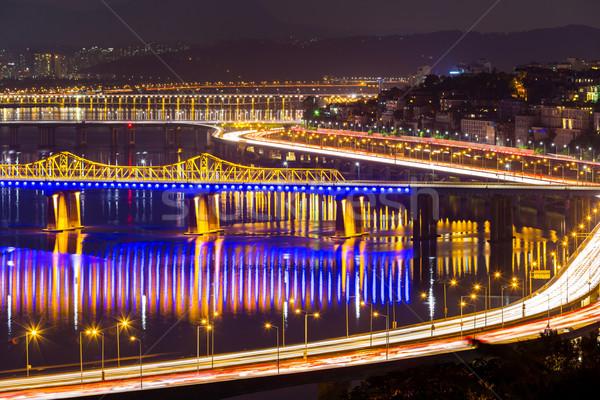 Seoul city at night Stock photo © leungchopan