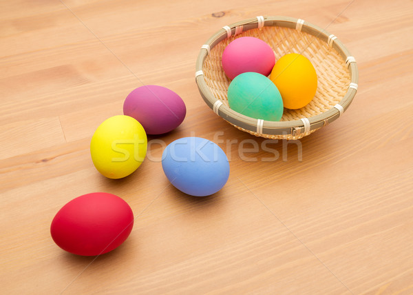 Painted easter egg in basket Stock photo © leungchopan