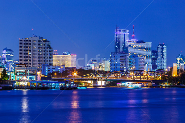 Bangkok ufuk çizgisi gece şehir manzara kentsel Stok fotoğraf © leungchopan