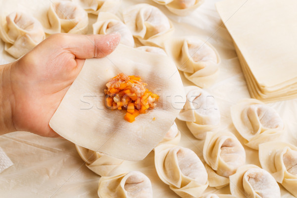Making of Chinese dumpling Stock photo © leungchopan