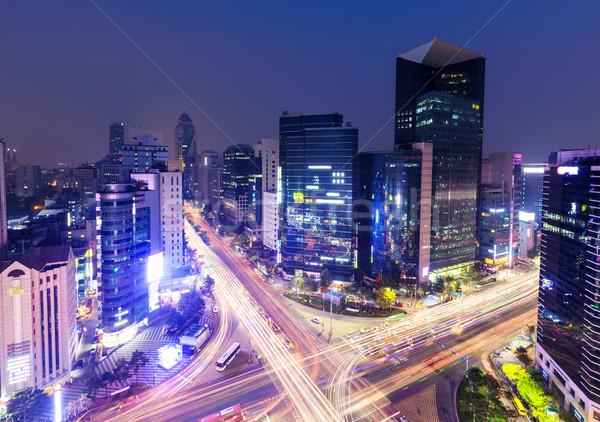 Kerület Szöul város út fény kereszt Stock fotó © leungchopan