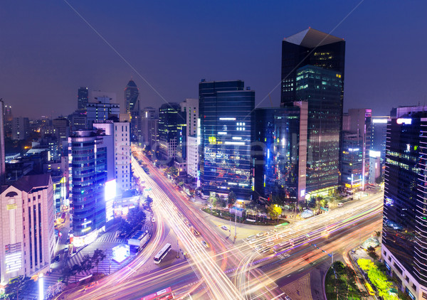 Distrito Seúl ciudad carretera luz cruz Foto stock © leungchopan