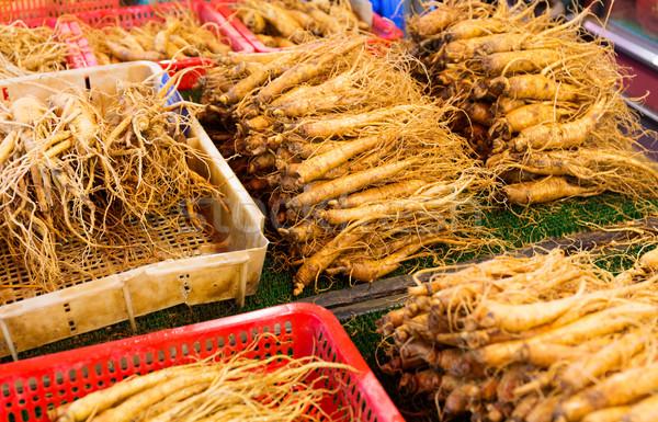женьшень продавать продовольствие рынке медицина китайский Сток-фото © leungchopan