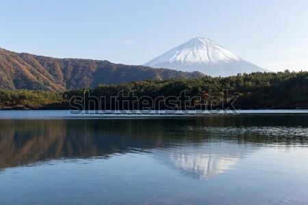 Montana fuji Japón puesta de sol nieve lago Foto stock © leungchopan