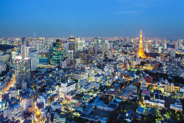 Tokió sziluett éjszaka város tájkép városi Stock fotó © leungchopan