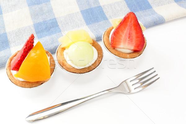 fruit tarts with fork Stock photo © leungchopan