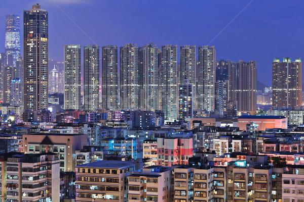Hong Kong lleno de gente edificios noche negocios cielo Foto stock © leungchopan