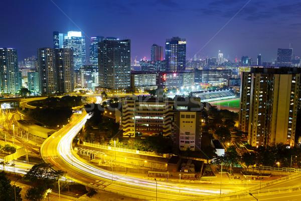 night in Hong Kong downtown Stock photo © leungchopan