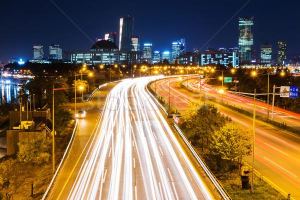 Tráfego trilha Seul noite da cidade edifício cidade Foto stock © leungchopan