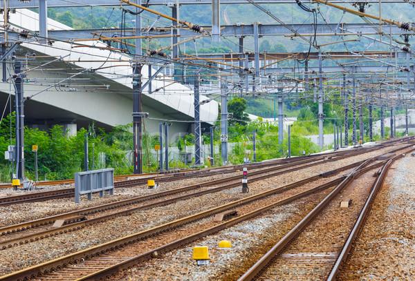 Vasút vonat kő forgalom acél minta Stock fotó © leungchopan