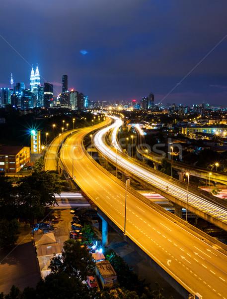 Куала-Лумпур Skyline ночь городского корпоративного небоскреба Сток-фото © leungchopan