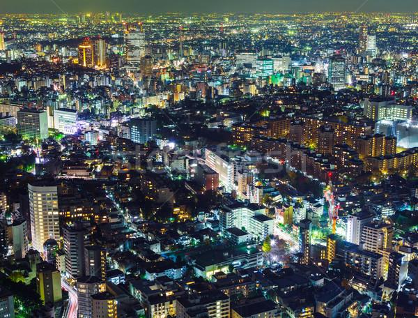Tokió éjszakai város város tájkép városi éjszaka Stock fotó © leungchopan
