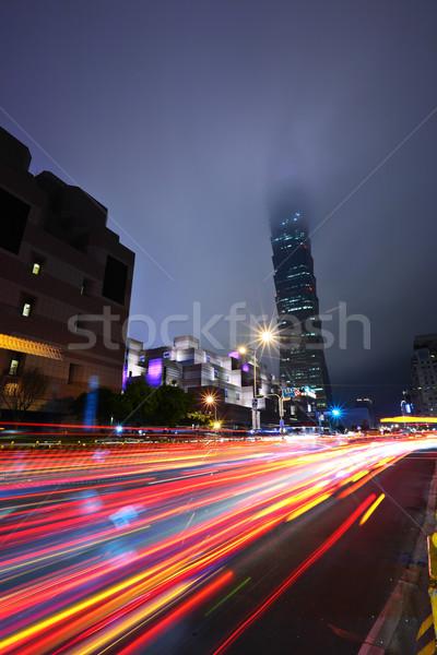 коммерческих район ночь автомобилей свет улице Сток-фото © leungchopan