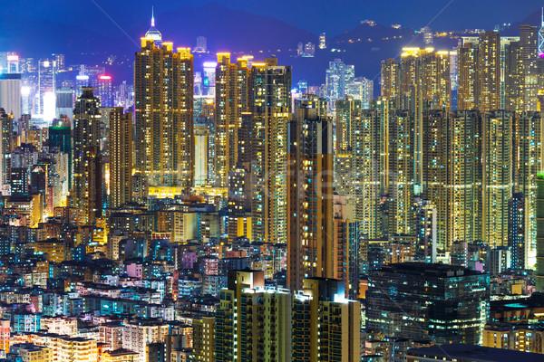 Centro de la ciudad paisaje urbano noche horizonte apartamento vista Foto stock © leungchopan