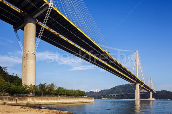 Pont suspendu Hong-Kong eau rue mer montagne Photo stock © leungchopan