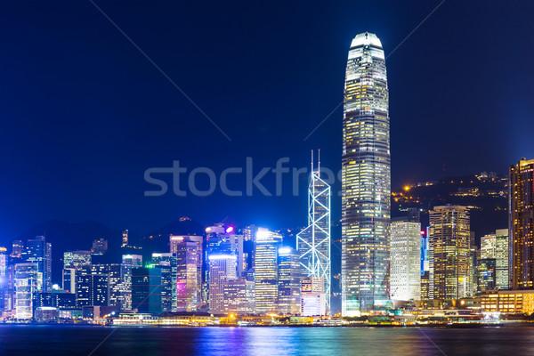 Foto stock: Hong · Kong · linha · do · horizonte · noite · negócio · escritório · edifício