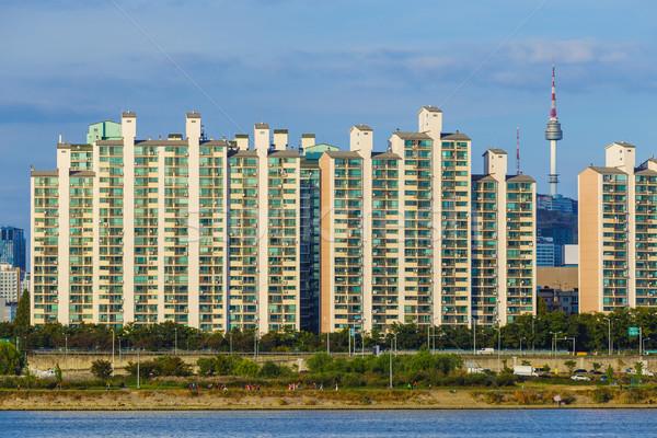 Seul cityscape Coréia do Sul céu água edifício Foto stock © leungchopan