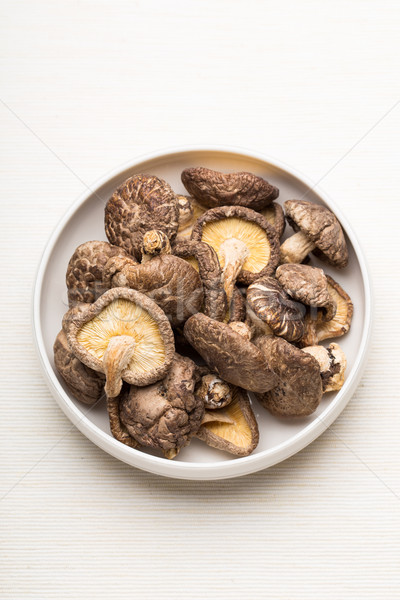 Stock photo: Dried mushroom in the plate