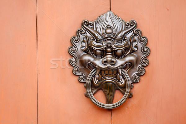 Stok fotoğraf: Madeni · aslan · heykel · kapı · kilitlemek · ahşap