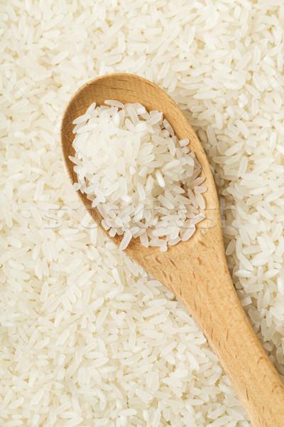 Foto stock: Branco · arroz · colher · madeira · chá · grão