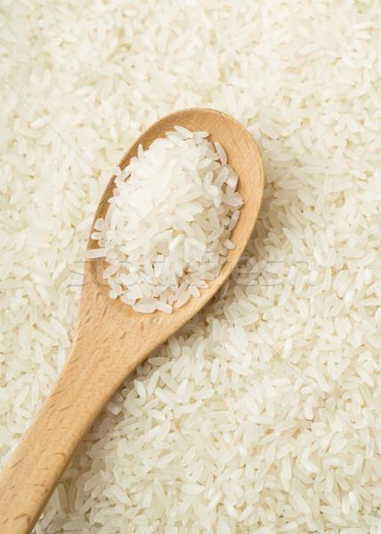 Stock fotó: Fehér · rizs · fából · készült · teáskanál · fa · háttér
