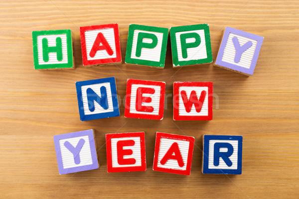 Happy new year toy block Stock photo © leungchopan