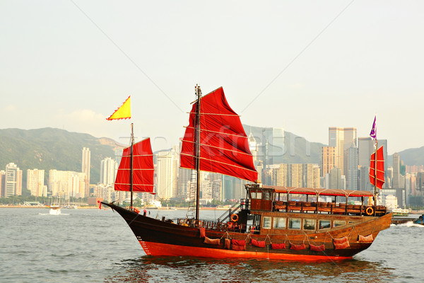 Hong Kong harbor with red sail boat Stock photo © leungchopan