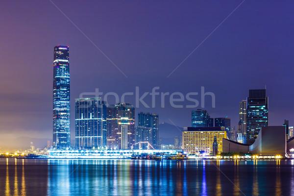 Centro de la ciudad distrito Hong Kong noche rascacielos Asia Foto stock © leungchopan