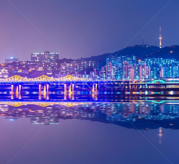 Seoul city at night in South Korea Stock photo © leungchopan