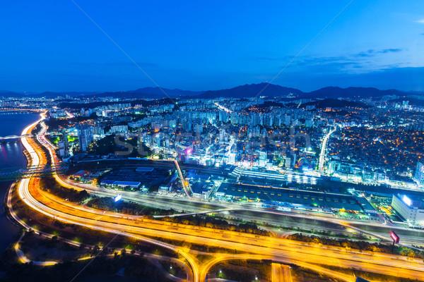 Seoul cityscape in South Korea at night Stock photo © leungchopan