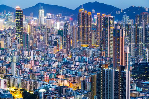 Hongkong Night City działalności biuro budynku krajobraz Zdjęcia stock © leungchopan