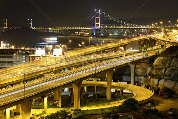 freeway and bridge at night Stock photo © leungchopan