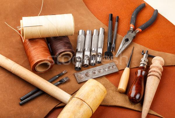 Handmade leather craft tool Stock photo © leungchopan