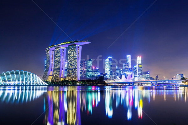 Singapour Night City bureau eau ville nuit Photo stock © leungchopan