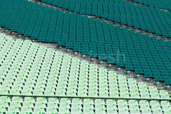 Sport aréna ülés zöld stadion műanyag Stock fotó © leungchopan