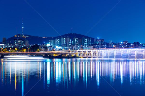 Seul Night City działalności budynku górskich miejskich Zdjęcia stock © leungchopan