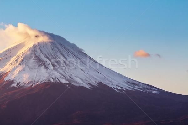 Fuji gün batımı manzara kar dağ sonbahar Stok fotoğraf © leungchopan