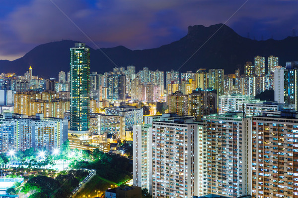 городского Cityscape Гонконг ночь город домой Сток-фото © leungchopan