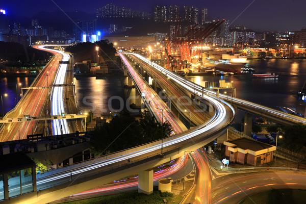 Teher autópályák Hongkong Kína pénz épület Stock fotó © leungchopan