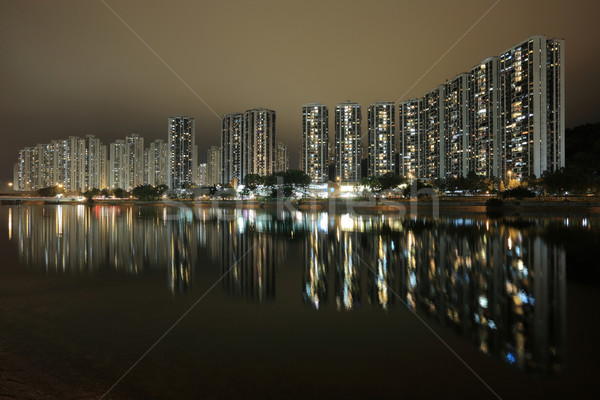 Hong Kong public housing and river Stock photo © leungchopan