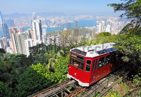 Tourist tram at the Peak, Hong Kong Stock photo © leungchopan