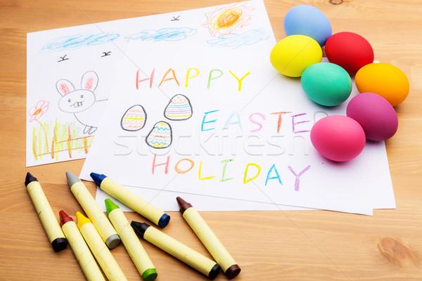 Kinderen tekening ester ei Pasen voorjaar Stockfoto © leungchopan