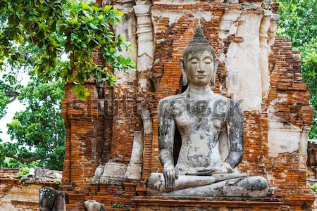 Antigua templo ruinas Buda ladrillo estatua Foto stock © leungchopan