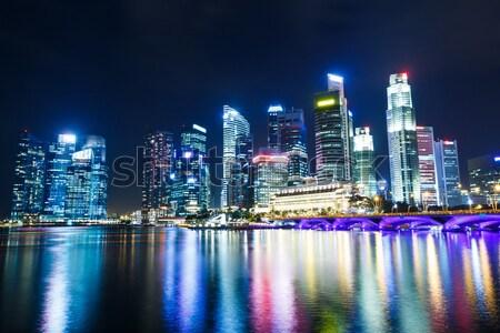 Singapore skyline at night Stock photo © leungchopan