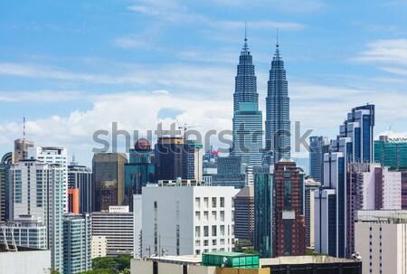Kuala Lumpur ufuk çizgisi iş gökyüzü şehir mavi Stok fotoğraf © leungchopan