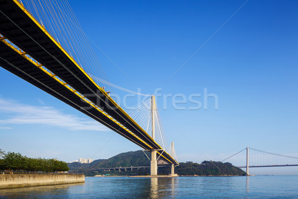 Hangbrug Hong Kong water landschap straat zee Stockfoto © leungchopan