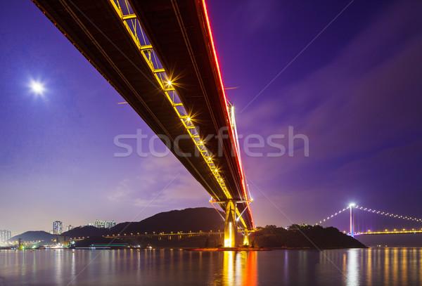 Fondo vista puente colgante agua carretera montana Foto stock © leungchopan