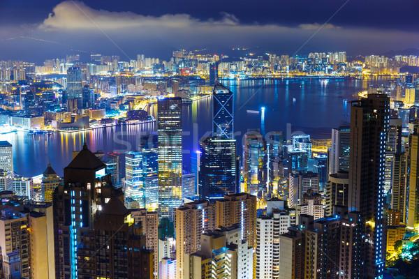 Hong Kong skyline from Peak at mid night Stock photo © leungchopan
