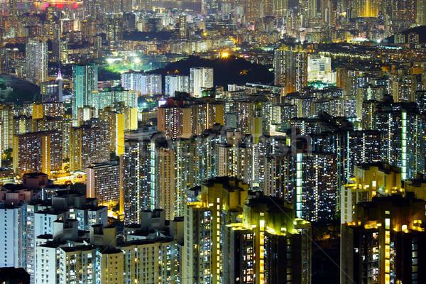 Apartment building in Hong Kong at night Stock photo © leungchopan